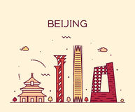 Beijing skyline trendy vector illustration linear Royalty Free Stock Images