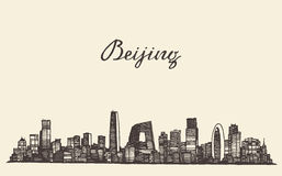 Beijing skyline vector engraved drawn sketch Stock Photos