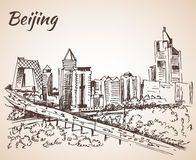 Beijing skyscraper. Sketch. On white background Royalty Free Stock Photos