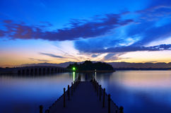 Beijing Summer Palace, Kunming Lake at sunset scenery Royalty Free Stock Image