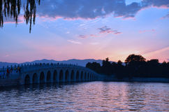 Beijing Summer Palace, Kunming Lake at sunset scenery Royalty Free Stock Photo