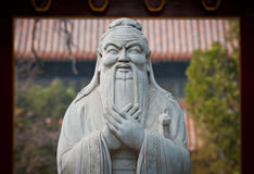 Beijing Temple of Confucius. Statue of in Confucius in The Temple of Confucius on Guozijian Street in Beijing, China Royalty Free Stock Photos