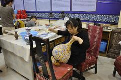Beijing, 6th may: Cloisonne Workshop in Beijing of China royalty free stock image