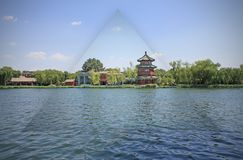 Chinese park by the lake in Beijing royalty free stock photography