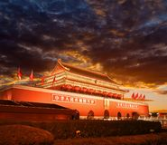 Beijing Tiananmen at sunset royalty free stock image