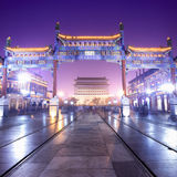 Beijing Traditional Shopping Street At Night Royalty Free Stock Photos