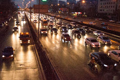 Beijing traffic. In Beijing ,Traffic congestion is very serious,This photo was taken on March, 2014 stock photography