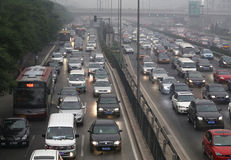 Beijing Traffic Jam And Air Pollution Stock Photos