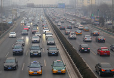 Beijing Traffic Jam And Air Pollution Stock Images