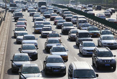 Beijing Traffic Jam And Air Pollution Royalty Free Stock Images
