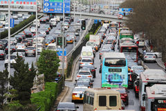 Beijing Traffic Jam And Air Pollution Stock Photography
