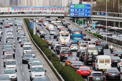 Beijing Traffic Jam And Air Pollution Royalty Free Stock Photography