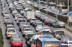 Beijing Traffic Jam And Air Pollution Stock Photo