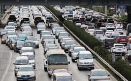 Beijing Traffic Jam And Air Pollution Royalty Free Stock Image