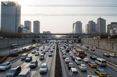 Beijing traffic jam. In Beijing ,Traffic congestion is very serious,This photo was taken on March 9, 2014 Stock Image