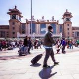 Beijing train station people walking in motion blur Stock Image