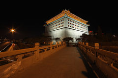 Beijing watchtower in night Stock Image