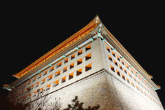 Beijing watchtower in night Stock Images