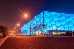 Beijing Water Cube night stock photo