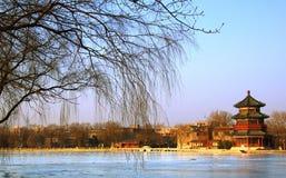 Beijing in winter. Lakeshore with pagoda in beijing in winter Royalty Free Stock Photos