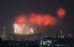 Beijingthe 29th session of the OlympicGames clouse. Fireworks explode over the National Stadium, known as the Birds Nest, during the closing ceremony of the Royalty Free Stock Photo