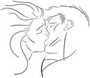 Beijo apaixonado isolado em preto e branco Imagem de Stock
