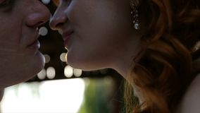 Beijo bonito dos pares do casamento nos alargamentos da luz do por do sol na cidade video estoque
