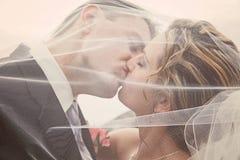 Beijo da noiva e do noivo foto de stock royalty free
