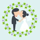 Beijo da noiva e do noivo dos desenhos animados Fotografia de Stock