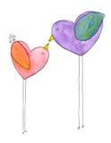 Beijo de dois pássaros ilustração stock