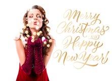 Beijo de sopro da menina de Santa imagens de stock royalty free