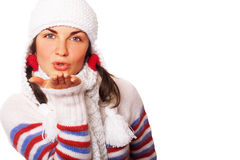 Beijo do ar do inverno imagens de stock royalty free