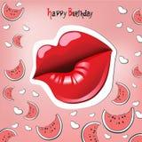 Beijo do cartão do feliz aniversario Imagens de Stock Royalty Free