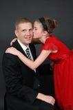 Beijo do dia de pais Imagens de Stock Royalty Free