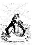 Beijo do pinguim ilustração do vetor