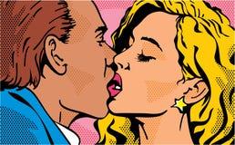 Beijo do pop art beijando pares Homem e mulher Amor do dia do Valentim ilustração do vetor