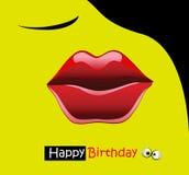 Beijo do sorriso do cartão do feliz aniversario Fotos de Stock