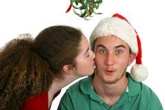 Beijo do visco Imagens de Stock Royalty Free
