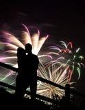 Beijo dos fogos-de-artifício Fotografia de Stock