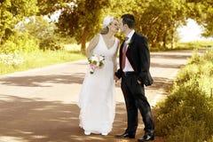 Beijo dos pares do casamento Imagens de Stock