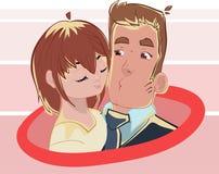 Beijo dos pares do dia de Valentim Amor, romântico, rosa Fotos de Stock