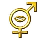 beijo dourado do amor 3D Imagem de Stock Royalty Free