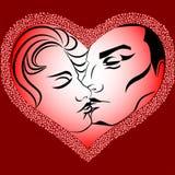 Beijo feliz do dia de Valentim Fotos de Stock