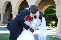 Beijo inter-racial atrativo dos pares do casamento foto de stock royalty free