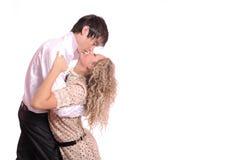 Beijo nos abraços Fotos de Stock Royalty Free