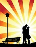 Beijo romântico (vetor) Imagens de Stock