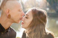 Beijo romântico Imagem de Stock