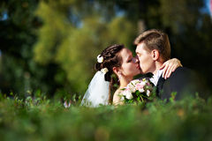 Beijo romântico a noiva e o noivo Imagens de Stock