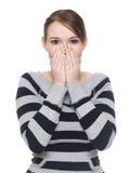 Beiläufige Frau - sprechen Sie kein Übel Lizenzfreie Stockfotos