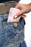 Beiläufige junge Frau mit Geld Stockfotos